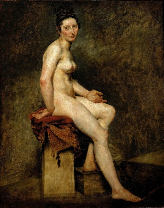 Delacroix, Eugene -- Sitting nude, also called Mlle. Rose (a professional model in the studio of Pierre-Narcisse Guerin). 1820 Canvas, 81 x 65 cm RF 1942-14. Part 1 Louvre
