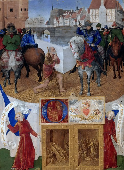 Jean Fouquet -- Saint Martin Sharing His Cloak with a Beggar, from the Book of Hours of Etienne Chevalier. Part 1 Louvre
