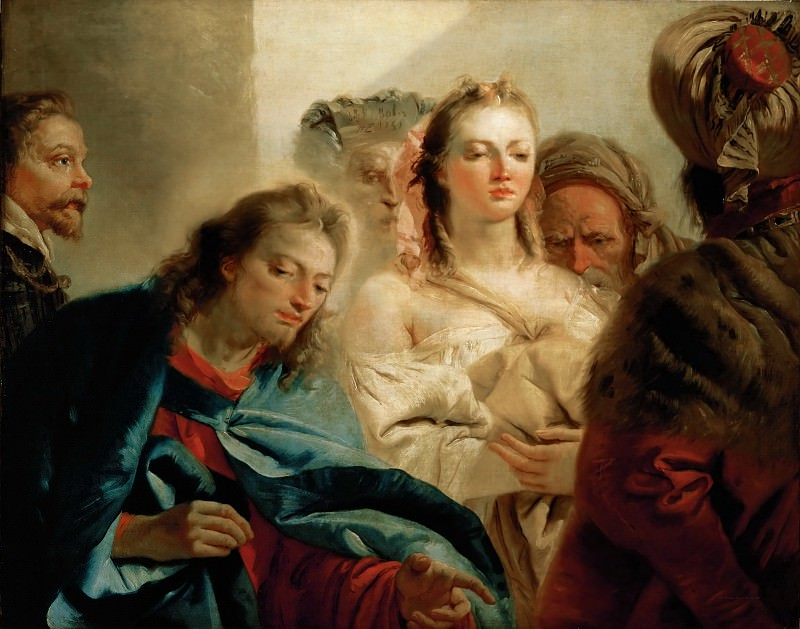 Tiepolo, Giovanni Battista -- Christ and the Adulteress. Canvas, 112 x 179 cm R.F. 1975-1. Part 1 Louvre
