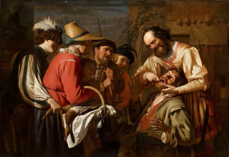 Gerrit van Honthorst -- Tooth Puller. Part 1 Louvre