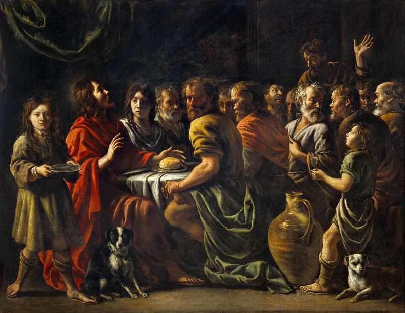 Antoine Le Nain (c. 1588-1648), Louis Le Nain (c. 1593-1648) or Mathieu Le Nain (1607-1677) -- Last Supper. Part 1 Louvre