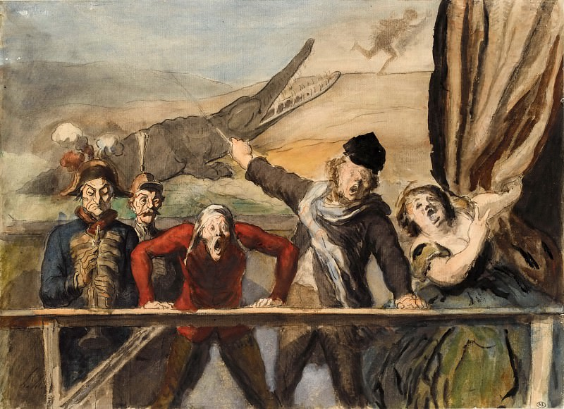 Honoré Daumier -- The Street Parade. Part 1 Louvre