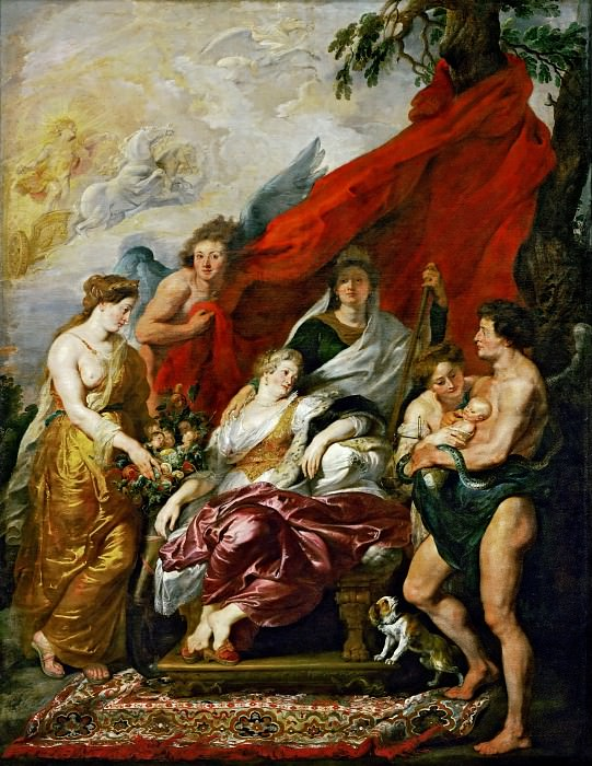 Peter Paul Rubens -- Medici Cycle: Birth of Louis XIII at Fontainebleau on September 27, 1601. Part 1 Louvre
