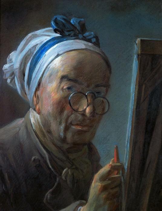 Шарден, Жан-Батист-Симеон (Париж 1699-1779) -- Автопортрет у мольберта. часть 1 Лувр
