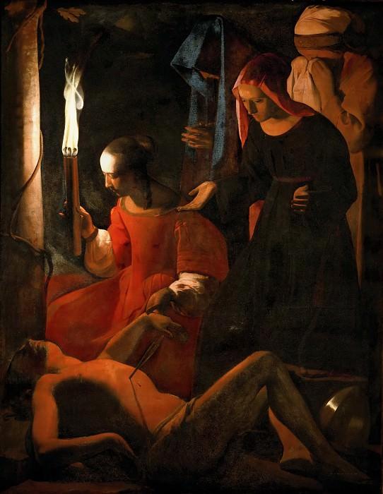 Georges de la Tour -- Saint Sebastian Tended by Irene. Part 1 Louvre
