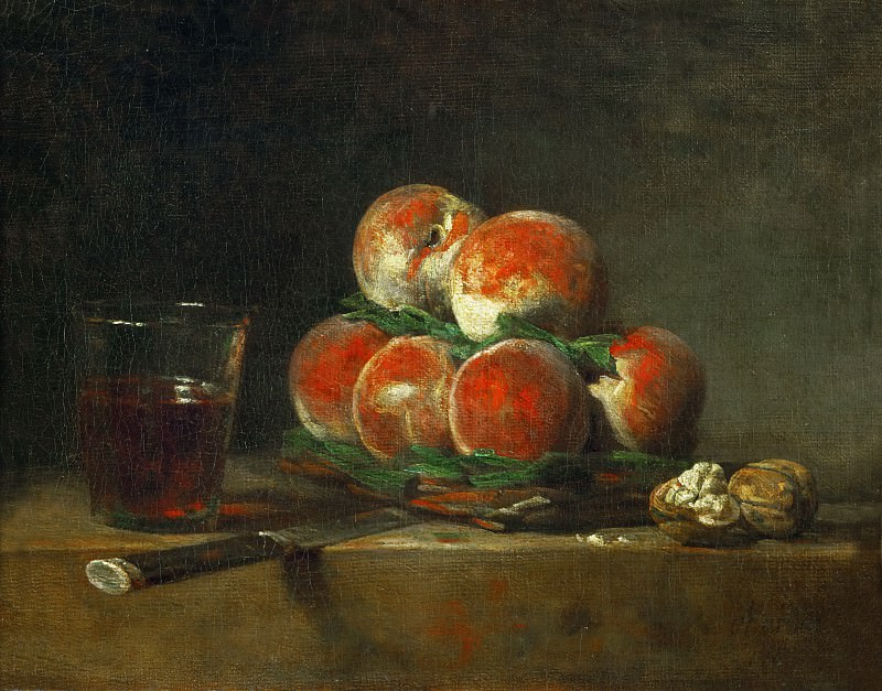 Chardin, Jean-Baptiste Simeon -- Panier de peches-a basket with peaches. Oil (1768) 32.5 x 39.5 cm MI 722. Part 1 Louvre
