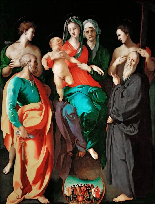 Понтормо, Якопо (1494 Понтормо - 1557 Флоренция) -- Мадонна с Младенцем и святой Анной с четырьмя святыми. часть 1 Лувр