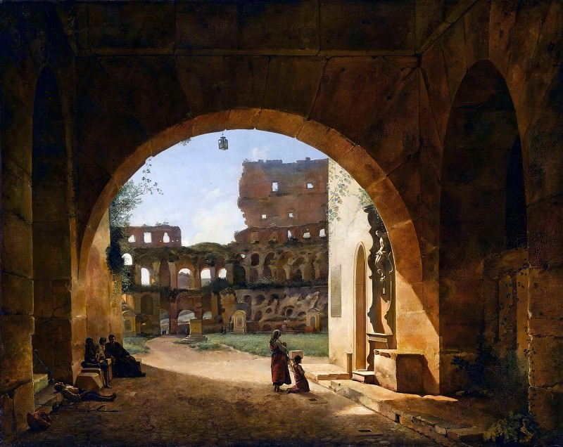 François-Marius Granet -- Interior view of the Colosseum in Rome. Part 1 Louvre