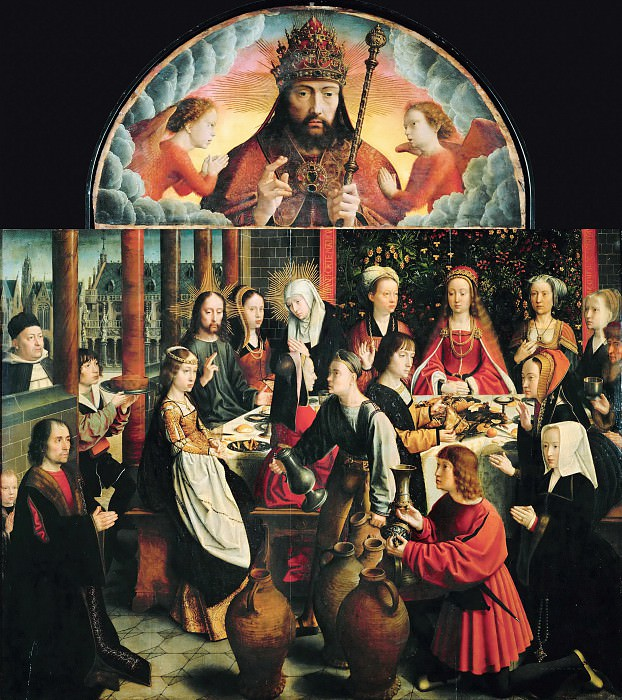 Gerard David -- The Wedding at Cana, God the Father Giving His Blessing. Part 1 Louvre