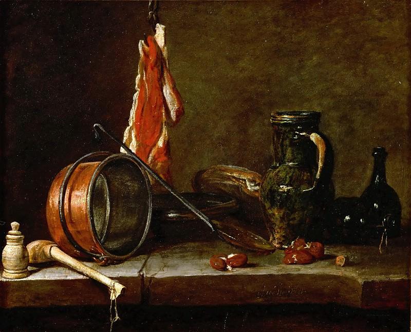 Chardin, Jean-Baptiste Simeon -- Menu du Gras et ustensil de cuisine, 1731 Canvas 33 x 41 cm, companion piece of Inv.3204, Menu du Maigre (40-12-08/11). Inv.3205. Part 1 Louvre