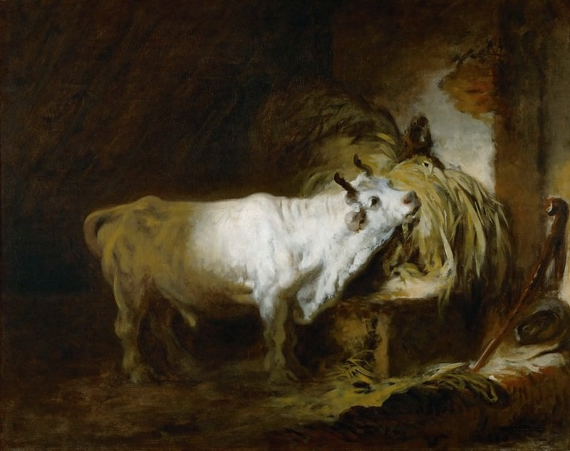 Fragonard, Jean-Honore -- Le toreau blanc a l'etable-the white bull in the stable. Canvas, 72, 5 x 91 cm R.F. 1076-10. Part 1 Louvre