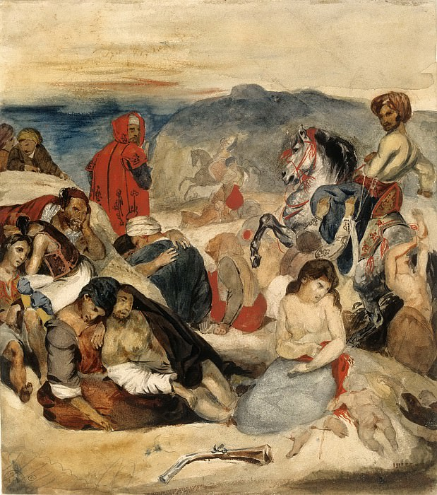 Eugène Delacroix -- The Massacre at Chios. Part 1 Louvre