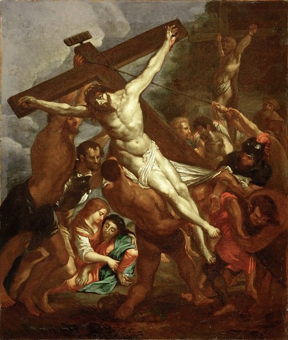 Rubens, Peter Paul -- L'Erection de la Croix-the raising of the Cross. Smaller copy of the painting for the church Santa Croce in Gerusalemme in Rome.Today known through a copy of the 17th belonging to the Hospice de Grasse. MNR 982. Part 1 Louvre