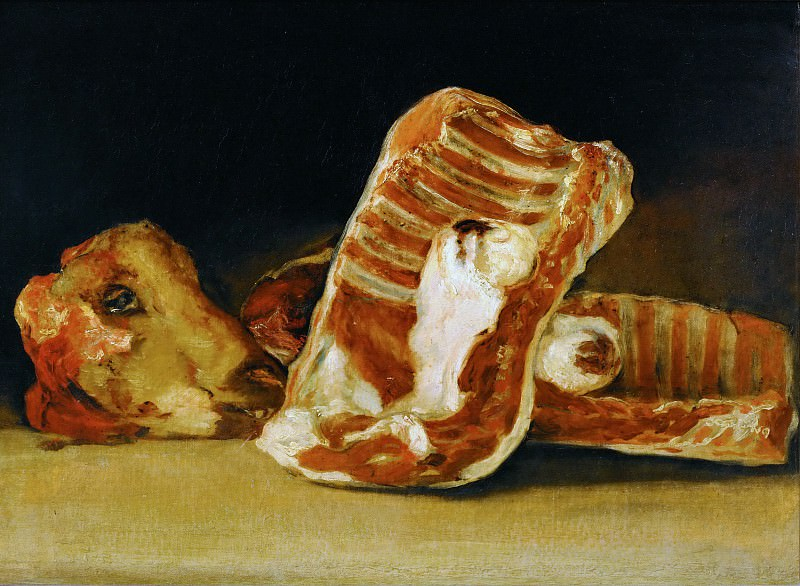 Goya y Lucientes, Francisco Jose de -- Nature Morte a la tete de mouton-Still-life with sheep's-head.One of twelve still-lifes of which six are known in various collections. Canvas, 45 x 62 cm R.F.1937-120. Part 1 Louvre