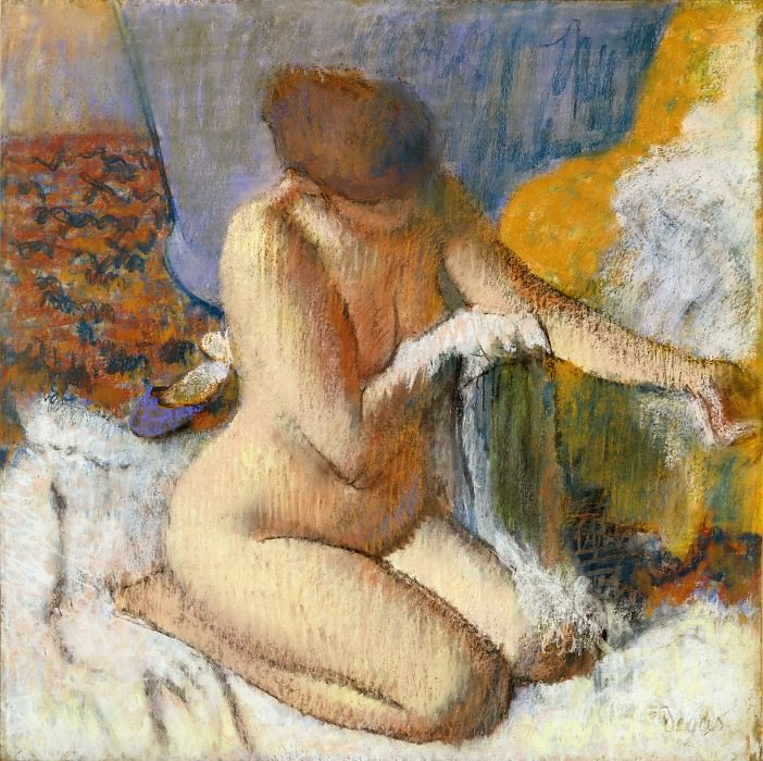 Degas, Edgar -- Nue apres le bain. Canvas RF 31343. Part 1 Louvre