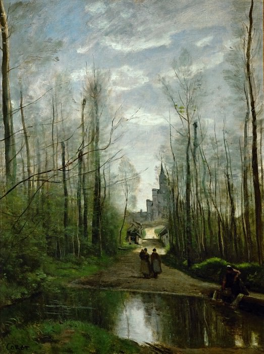Corot, Jean-Baptiste Camille -- The Church of Marissel. Oil on canvas 55 x 42 cm RF 1642. Part 1 Louvre