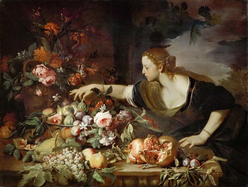 Брейгель, Абрахам (1631 Антверпен - 1697 Неаполь) -- Женщина берущая фрукт. часть 1 Лувр