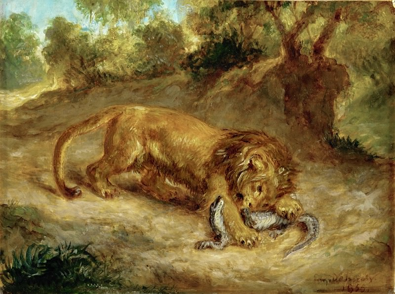Delacroix, Eugene -- Lion and cayman, 1855 Canvas, 32 x 42 cm R.F. 1395. Part 1 Louvre