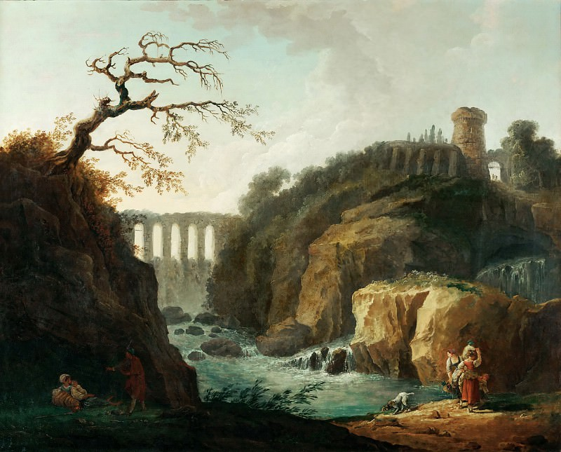 Robert, Hubert -- Paysage avec aqueduc et torrent-Landscape with aqueduct and torrent. Canvas, 77 x 93 cm M.N.R.898. Part 1 Louvre