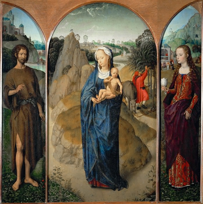 Hans Memling -- Triptych of the Rest on the Flight into Egypt (Madonna and Child with St. John the Baptist and St. Mary Magdalen). Part 1 Louvre