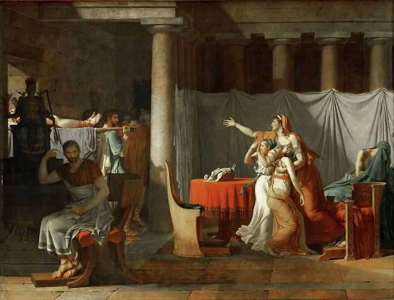 Lictors bearing to Brutus the bodies of his sons. Jacques-Louis David