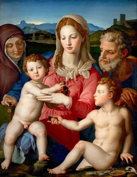 Agnolo Bronzino (1503-1572) -- Holy Family with Saints Anne and John the Baptist. Part 1 Louvre