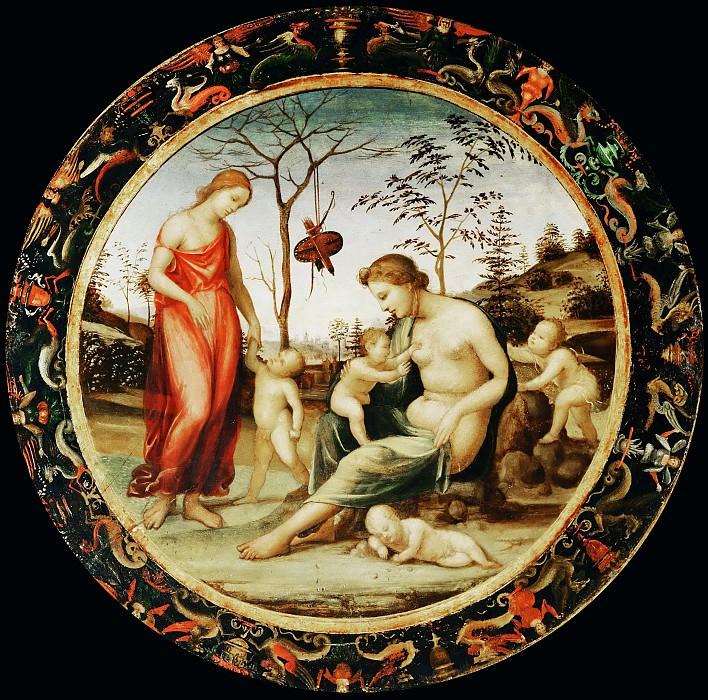 Sodoma -- Venus terrestre with Eros and Venus celeste with Anteros and two cupids, called the Allegory of Love. Part 1 Louvre