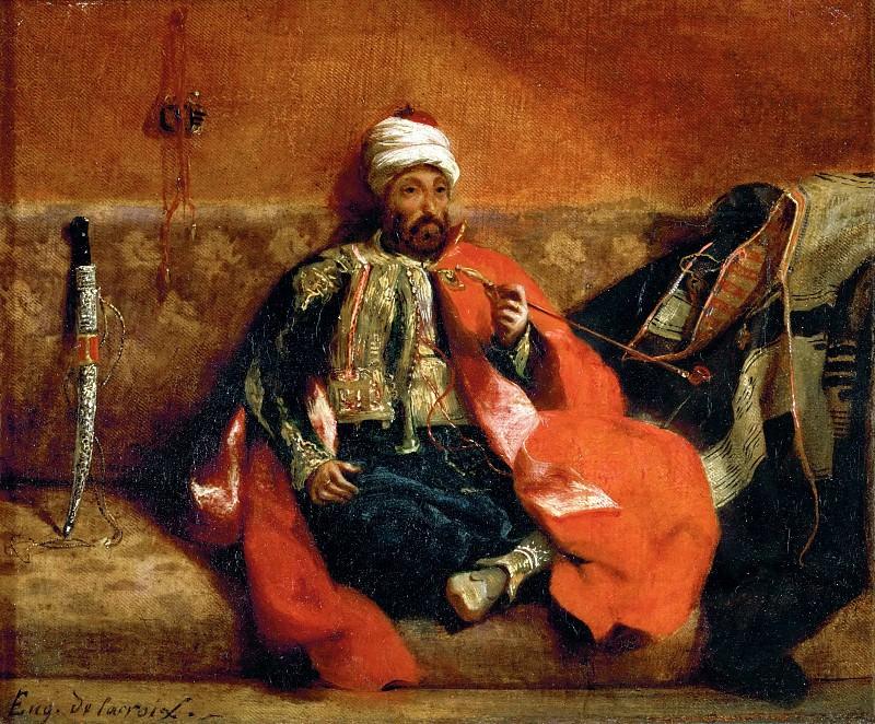 Delacroix, Eugene -- Turk fumant, assis sur un divan-Turk, smoking on a divan. Canvas, 25 x 30 cm R.F.1656. Part 1 Louvre