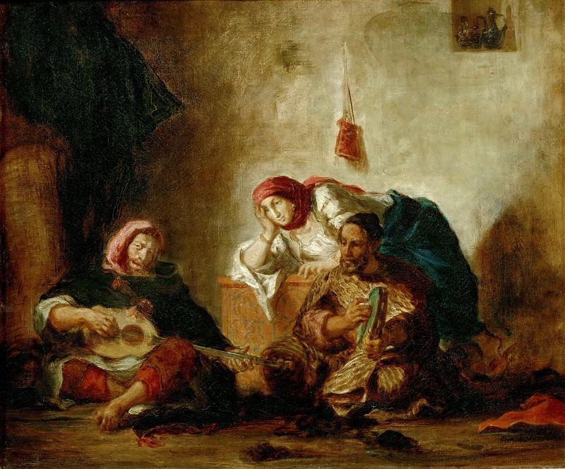 Delacroix, Eugene -- Musiciens juifs de Mogador-Jewish musicians of Mogador. Canvas, 46 x 55, 5 cm R.F.1651. Part 1 Louvre