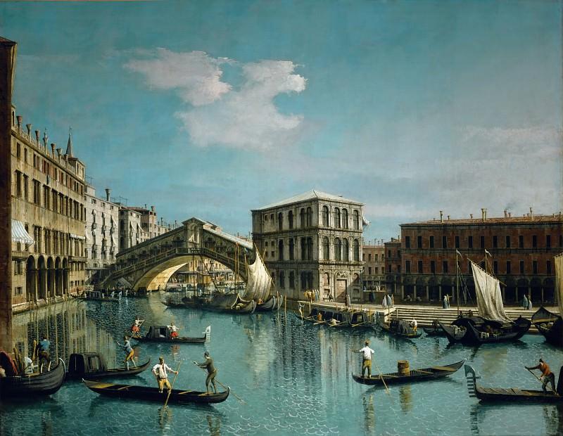 Каналетто (Венеция 1697-1768) -- Венеция - Мост Риальто. часть 1 Лувр
