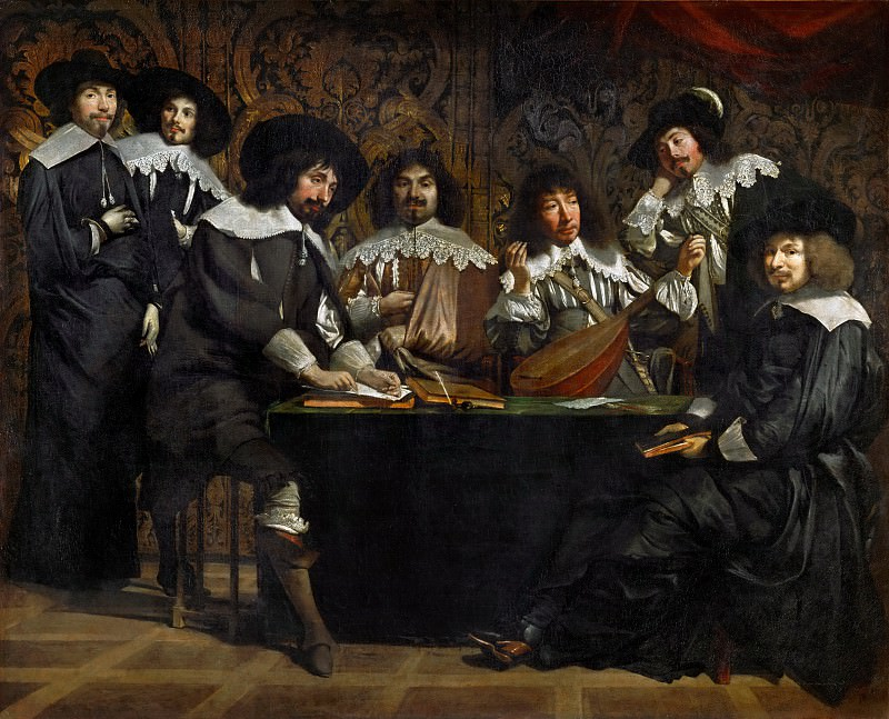 Antoine Le Nain (c. 1588-1648), Louis Le Nain (c. 1593-1648) or Mathieu Le Nain (1607-1677) -- The Academy, or The Interrupted Chord. Part 1 Louvre