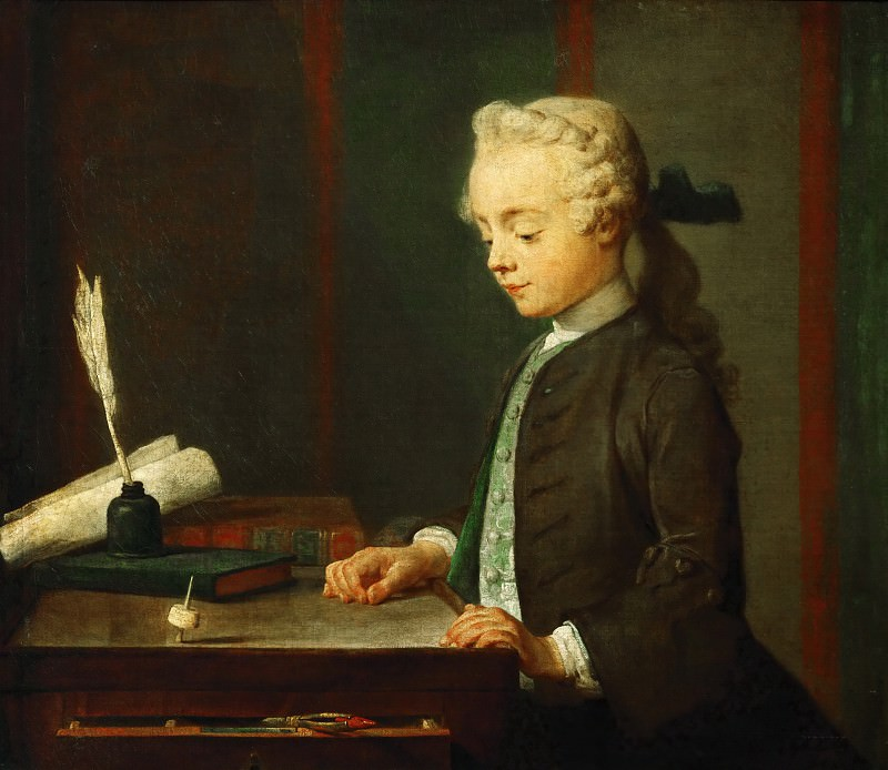 Jean-Siméon Chardin -- Portrait of the Son of M. Godefroy, Jeweler, Watching a Top Spin (Child with a Top; Auguste Gabriel Godefroy). Part 1 Louvre
