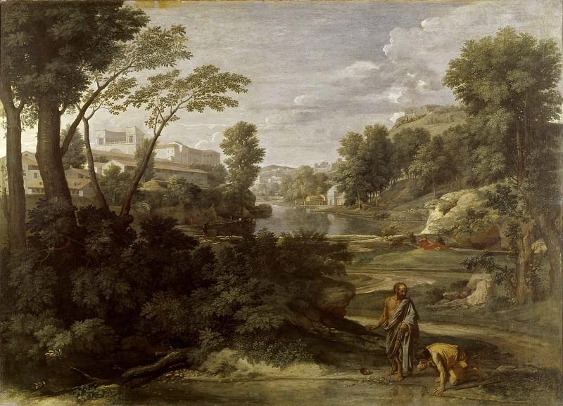 Nicolas Poussin -- Landscape with Diogenes Renouncing His Bowl. Part 1 Louvre