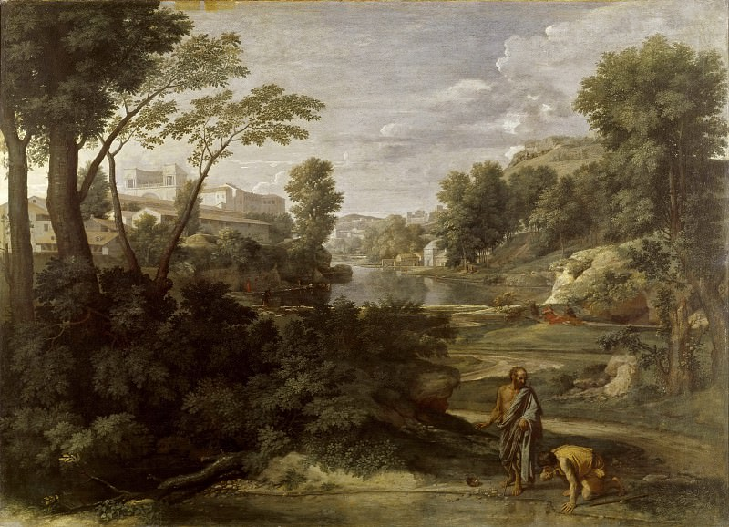 Landscape with Diogenes Renouncing His Bowl. Nicolas Poussin