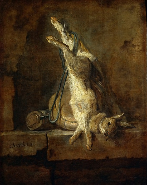 Chardin, Jean-Baptiste Simeon -- Lapin de Garenne mort avec une gibeciere et une poire a poudre-dead hare with game bag and powder flask. Canvas, 81 x 65 cm INV.3203. Part 1 Louvre