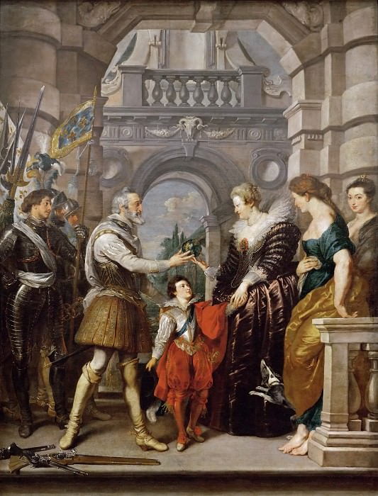 Peter Paul Rubens -- Medici Cycle: Henry IV Leaves for War in Germany and Confers Governing of the Kingdom on the Queen, March 20, 1610. Part 1 Louvre