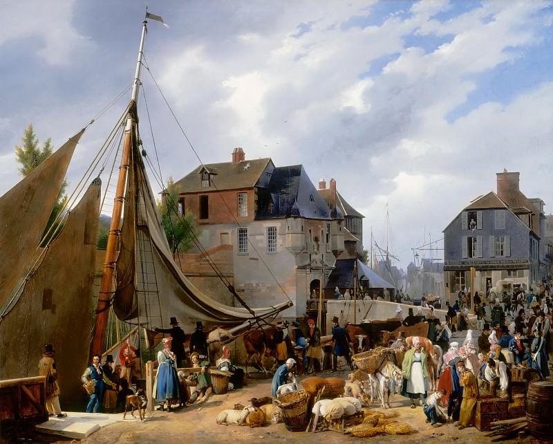 Auguste-Xavier Leprince -- Boarding of animals on the 'Passager' at the port of Honfleur. Part 1 Louvre