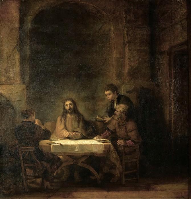 Rembrandt Harmensz van Rijn -- The Disciples at Emmaus. Oil on wood (1648) 68 x 65 cm Inv. 1739. Part 1 Louvre