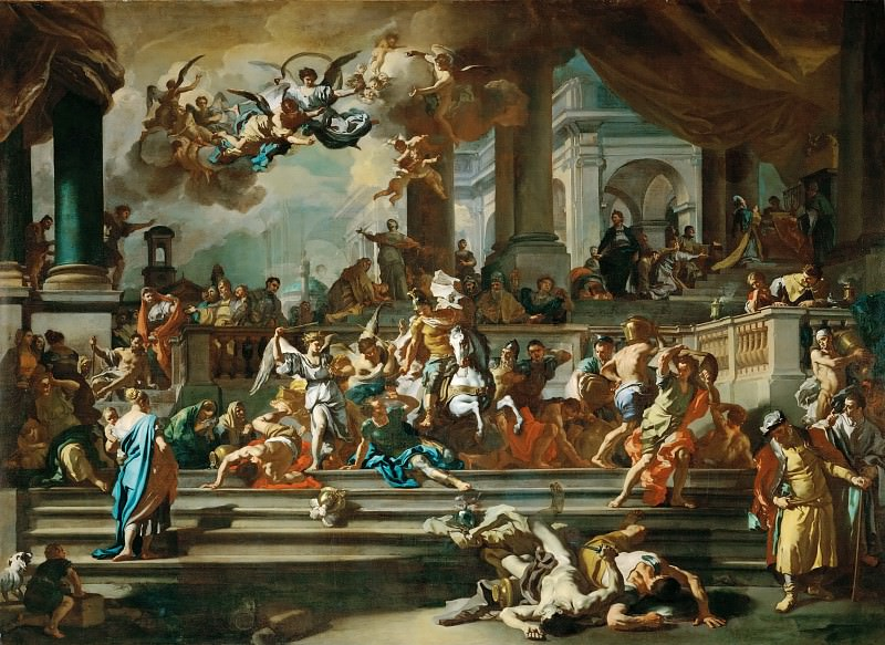 Francesco Solimena -- The Expulsion of Heliodorus from the Temple. Part 1 Louvre