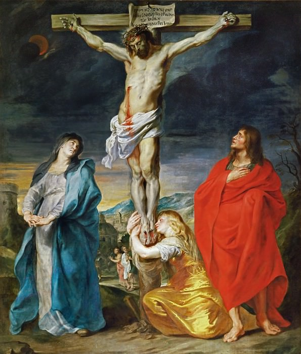 Anthony van Dyck -- Christ Crucified with the Virgin, Saint John and Mary Magdalene. Part 1 Louvre