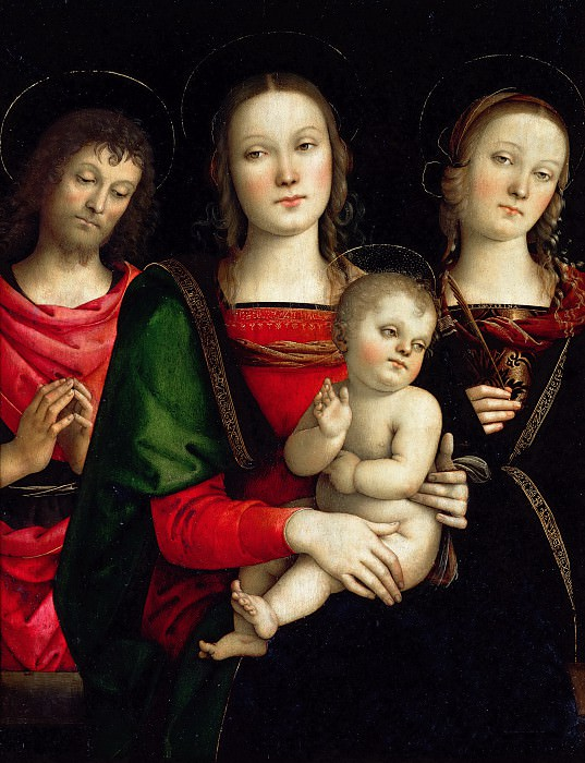 PERUGINO, Pietro -- Virgin and Child between Sts John the Baptist and Catherine. Part 1 Louvre
