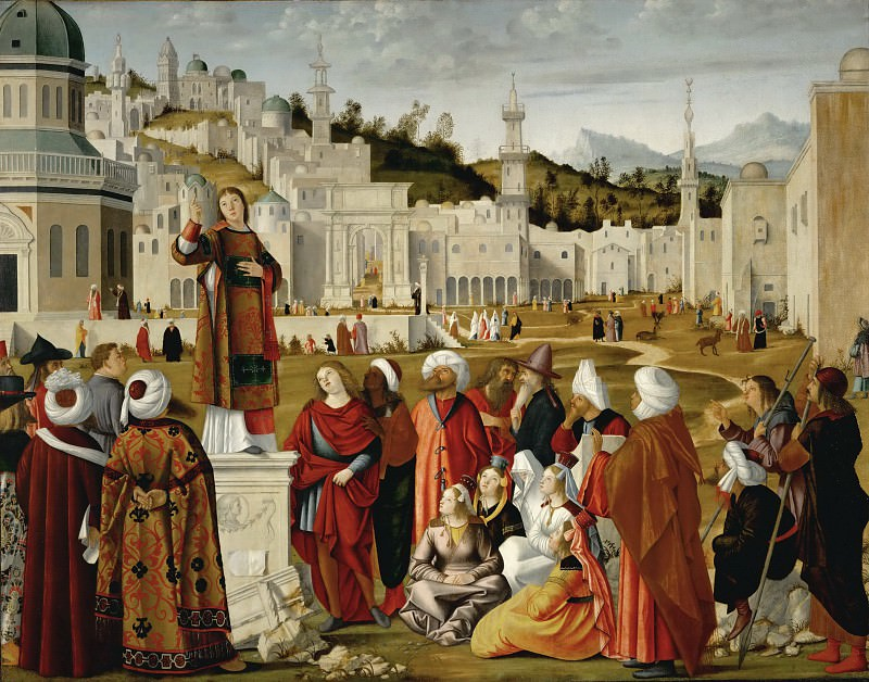 Vittore Carpaccio (c. 1460-c. 1526) -- Sermon of Saint Stephen Outside the Walls of Jerusalem. Part 1 Louvre