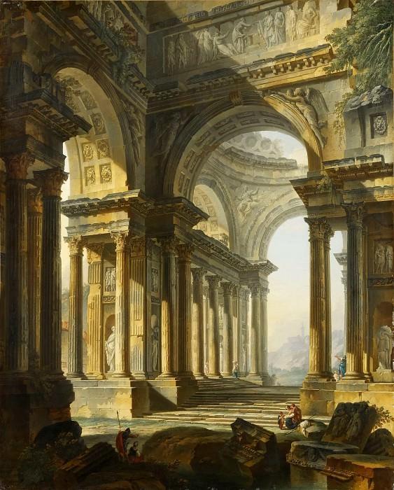 Pierre Antoine de Machy -- A temple in ruins. Part 1 Louvre