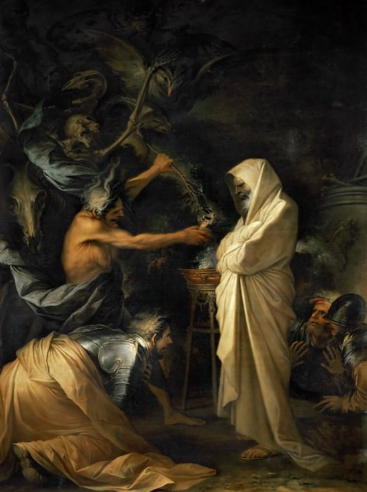 Salvator Rosa (1615-1673) -- The Shade of Saul Appears Before Samuel in the House of the Woman of Endor. Part 1 Louvre