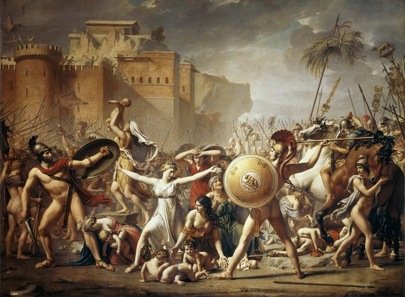 Sabine women stopped fighting the Romans with Sabines. Jacques-Louis David