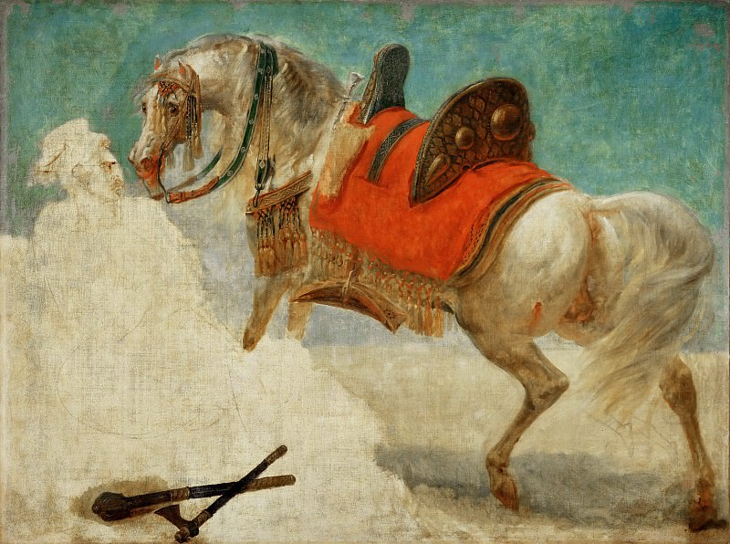 Gros, Antoine-Jean -- Etude de cheval arabe harnache. Canvas, 97, 5 x 130 cm RF 1971-4. Part 1 Louvre