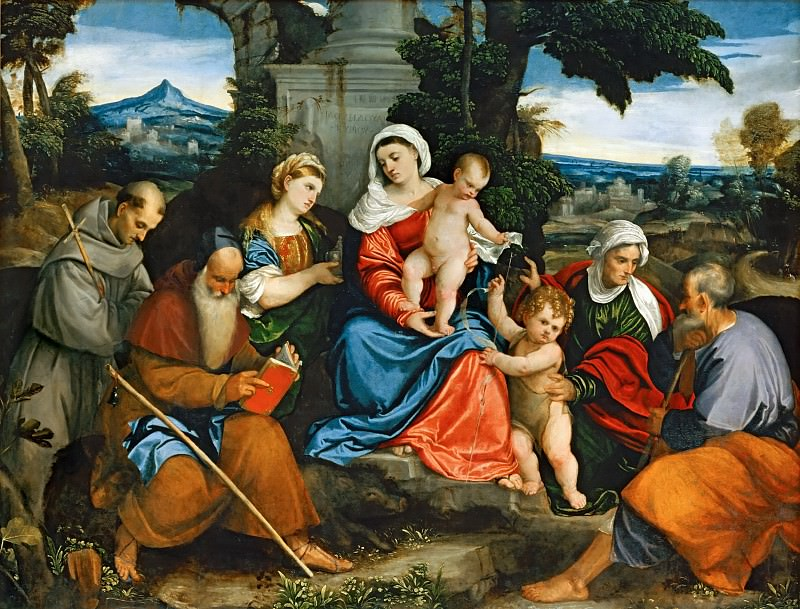 Bonifazio de'Pitati -- The Holy Family with Saint Francis, Saint Anthony, Mary Magdalen, John the Baptist, and Elizabeth. Part 1 Louvre