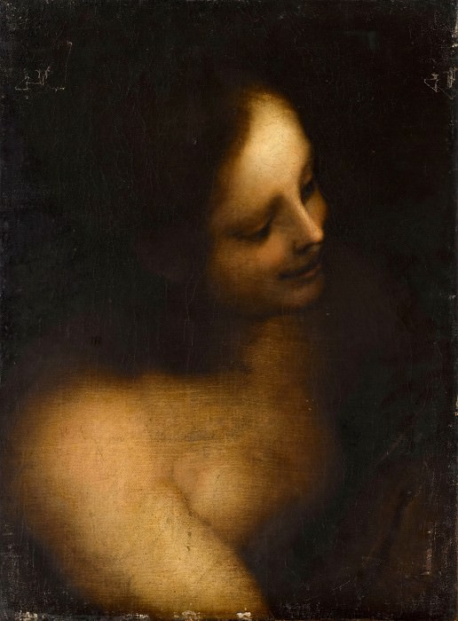 Lombard School; formerly attributed to Leonardo da Vinci -- Bust-length Female Nude. Part 1 Louvre