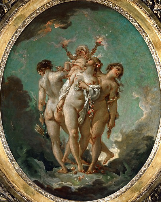 Boucher, Francois -- The Three Graces carrying Amor, God of Love. Oil on canvas 80 x 65 cm MI 1023. Part 1 Louvre