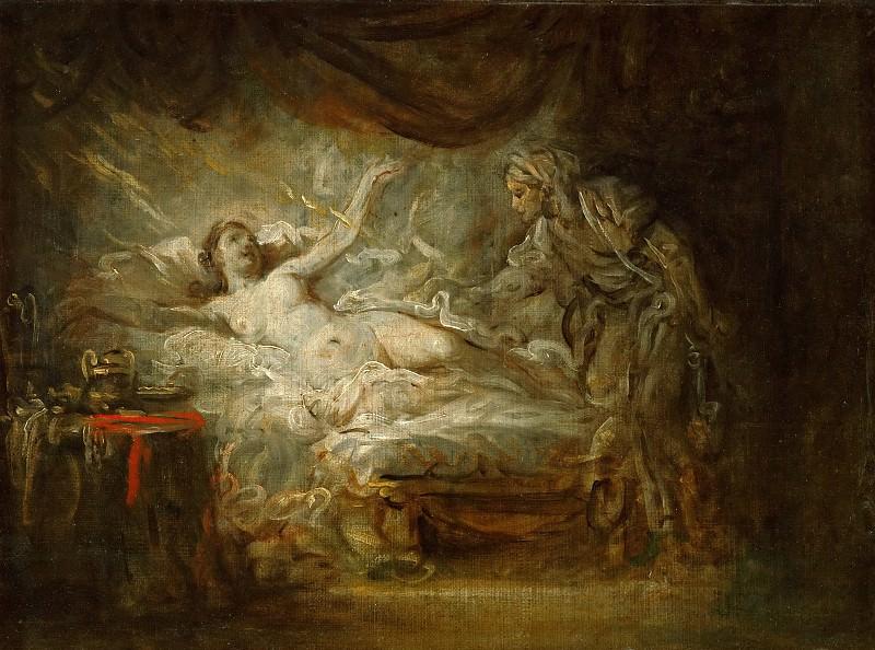 Greuze, Jean-Baptiste -- Jupiter et Egine. Oil on canvas 33 x 41 cm MI 1068. Part 1 Louvre